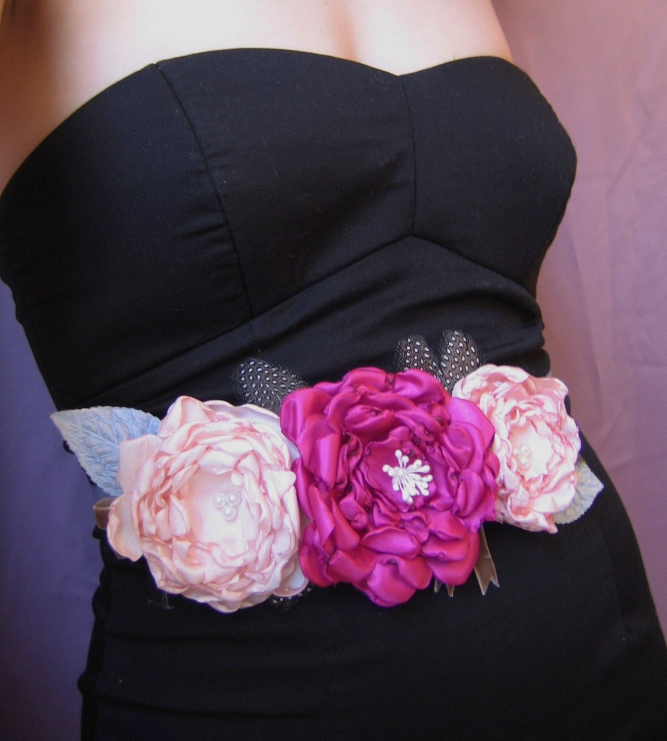 Bridal Belt or Bridesmaid's Dress Sash with Three Pink Blooms