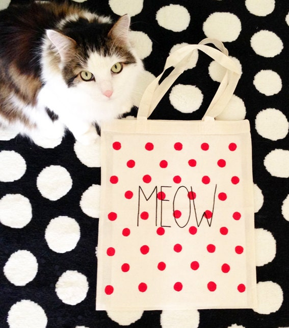 Hand Illustrated Meow Tote Bag