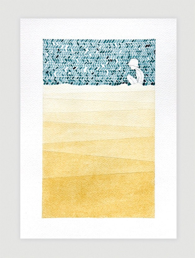 Original watercolor painting, beach illustration, boy, geometric wall art decor, modern, lake, river, sea, yellow, blue, A4 by VApinx - VApinx