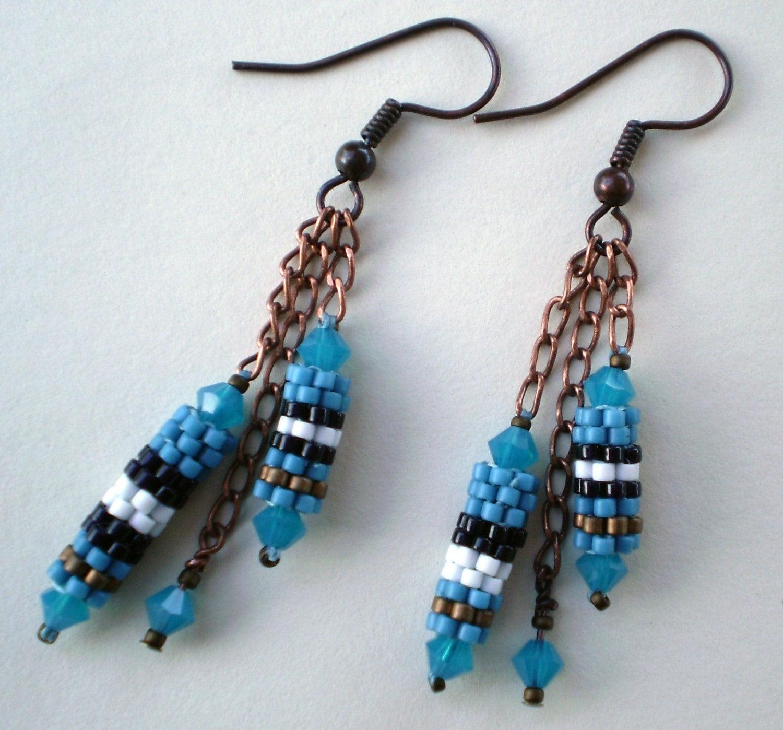 Blue Burbery Earrings