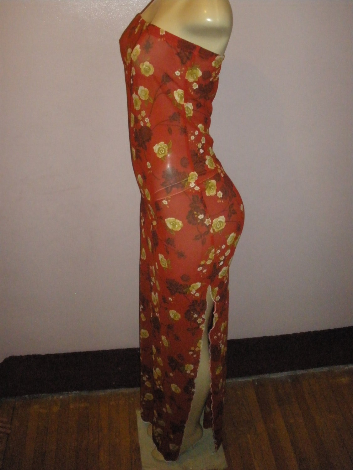 Beautiful Long Multiple Color Floral Sheer Swimsuit Cover Up Fits Size Large, XLarge
