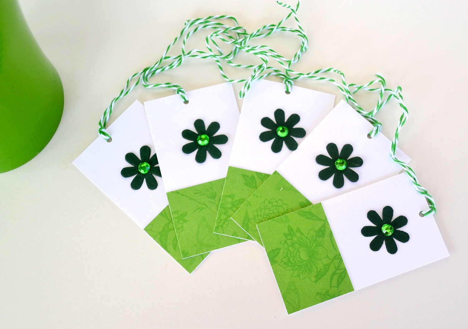 Green Floral Gift Tags - Set 5 - yarisiandco