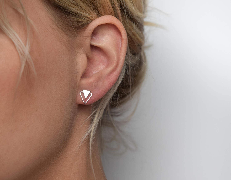 Triangle Stud Earrings  Silver Stud Earrings  Geometric Stud Earrings  Silver Triangle post earrings  Double Triangle Earrings