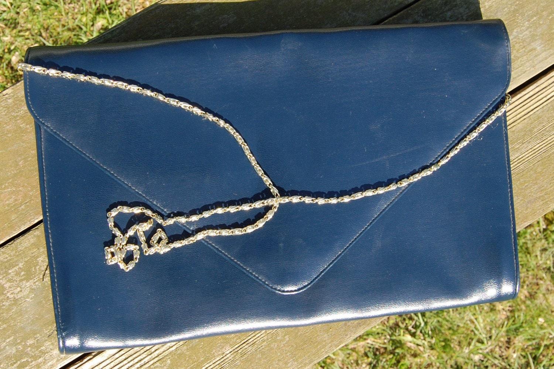 Vintage ENVELOPE Navy Blue Ande Purse SALE