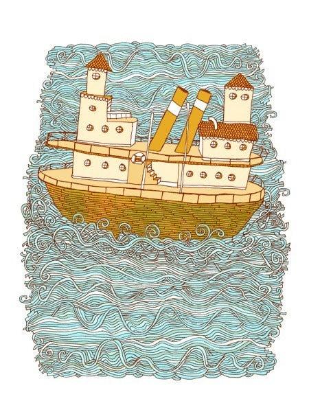 steamboat - handprinted art print
