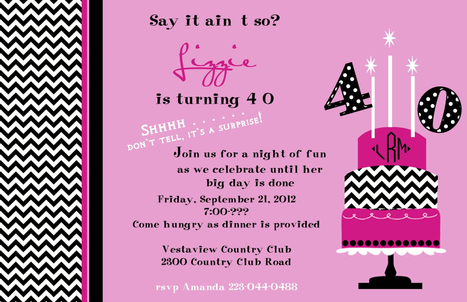 40 Birthday Invitations