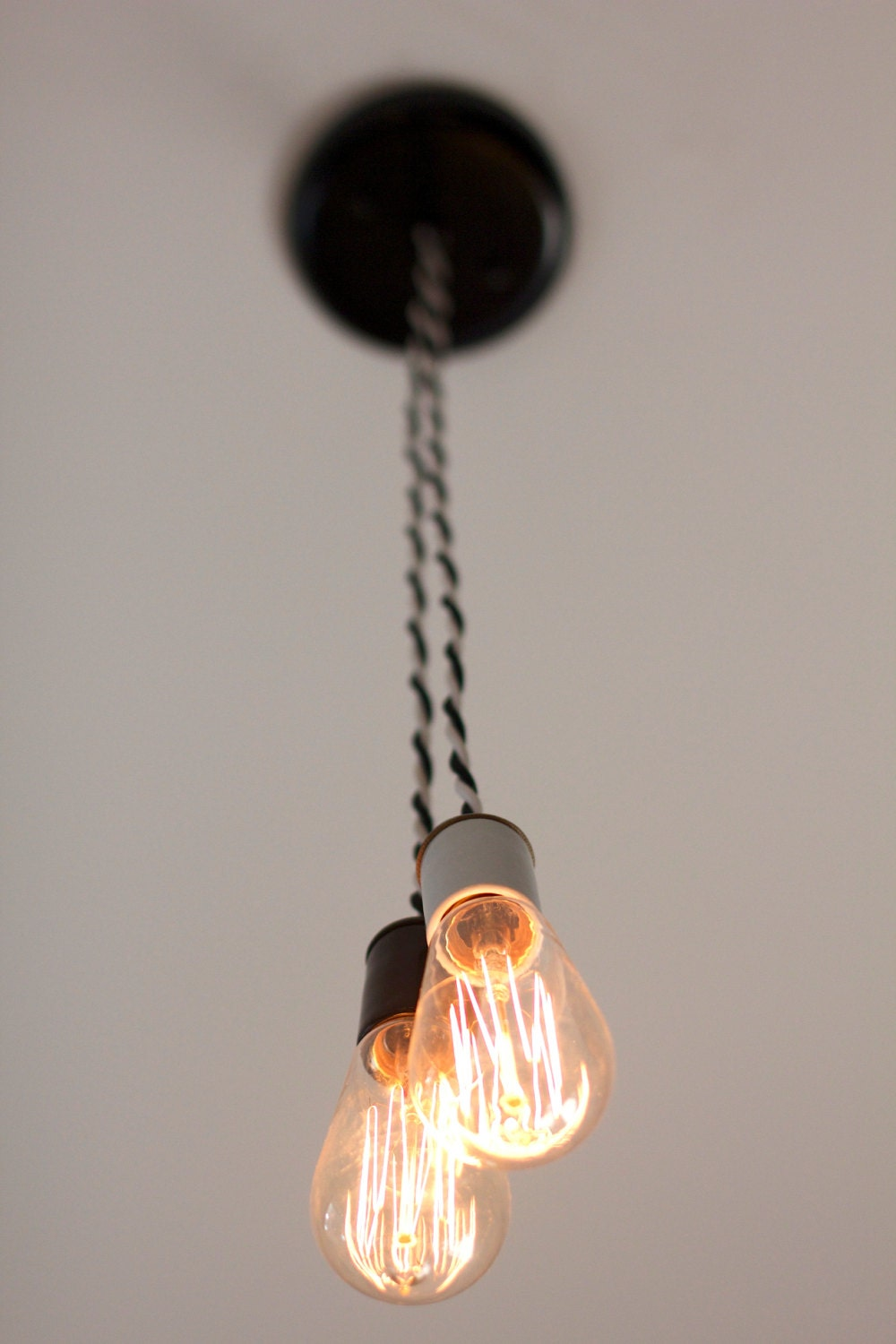 double edison bulb suspending light fixture with twisted fabric wire. Black Bedroom Furniture Sets. Home Design Ideas