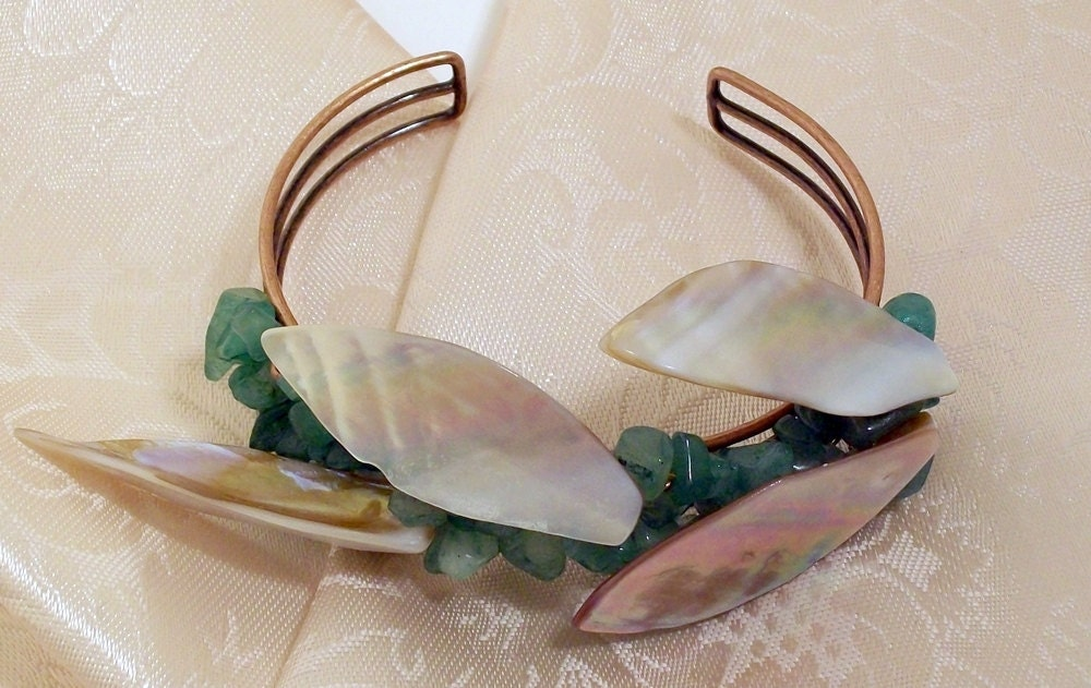 Wicked Shell and Aventurine Bangle Bracelet