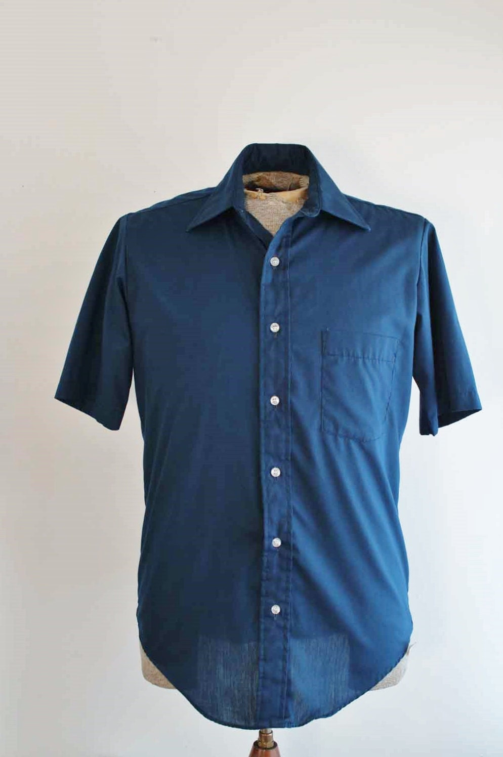 Mens Basic Navy Blue Button Down Vintage Shirt Size 15 By