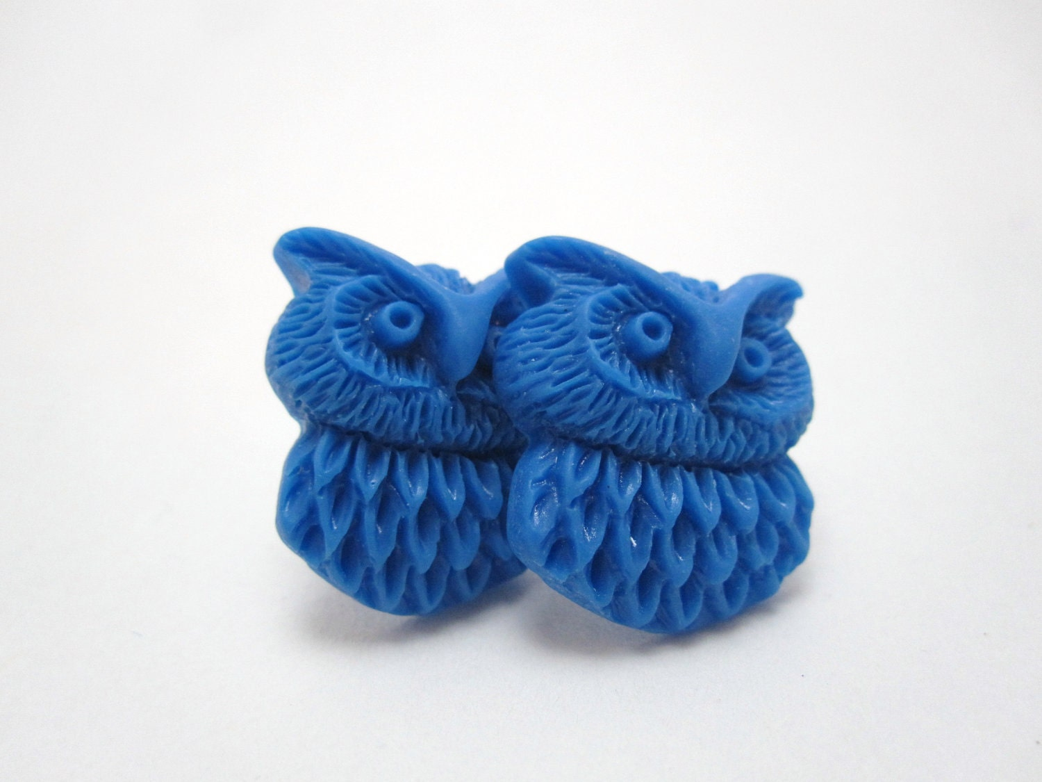 Blue owl studs - blue owls on titanium posts - nickel free for sensitive ears - LazyOwlBoutique