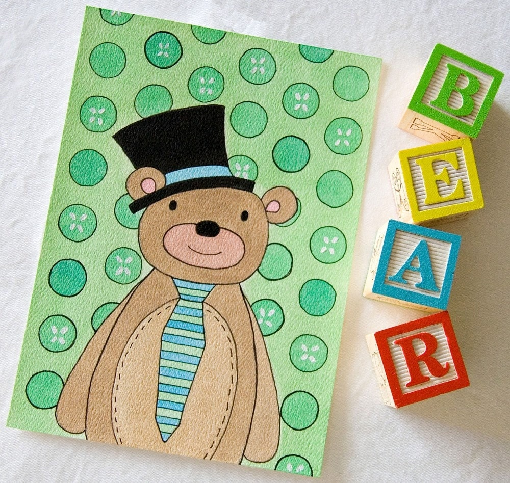 Bear Wearing Hat and Tie