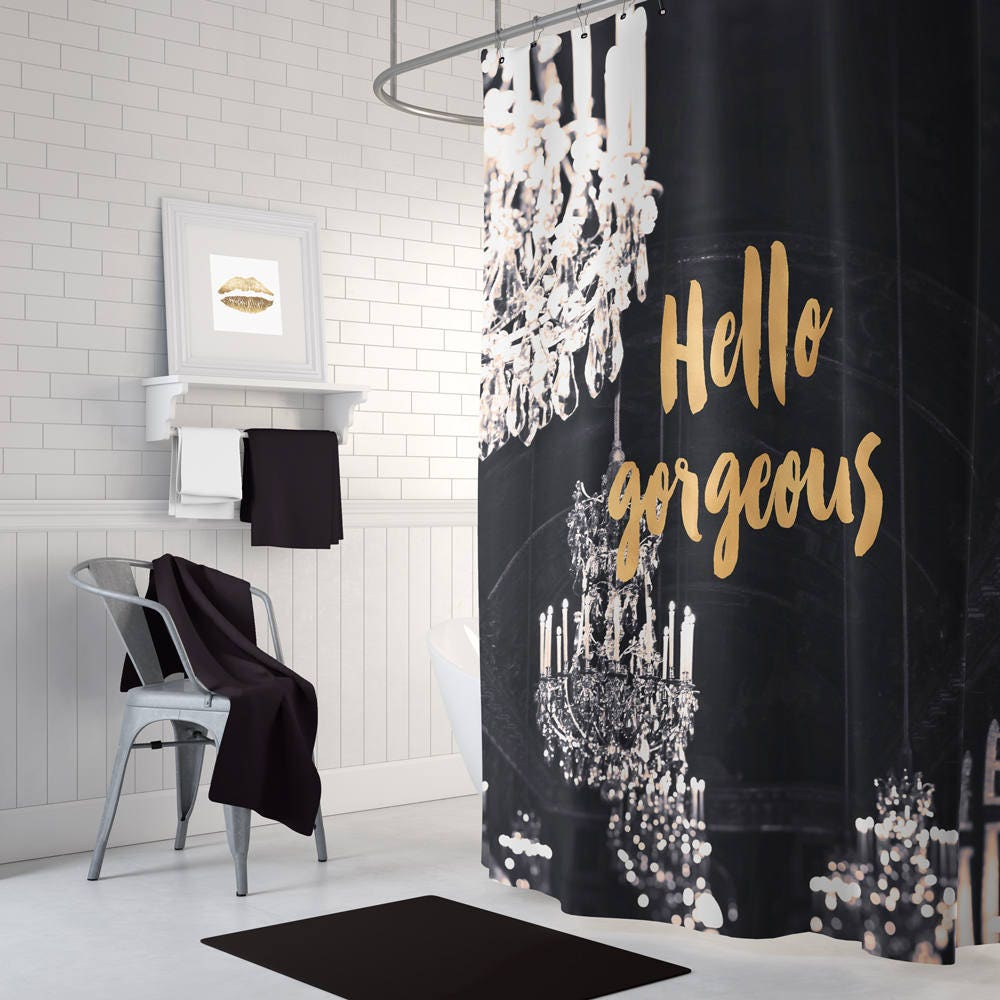 Black and gold shower curtain chandelier shower curtain black and white shower curtain gold decor gift for her bathroom decor