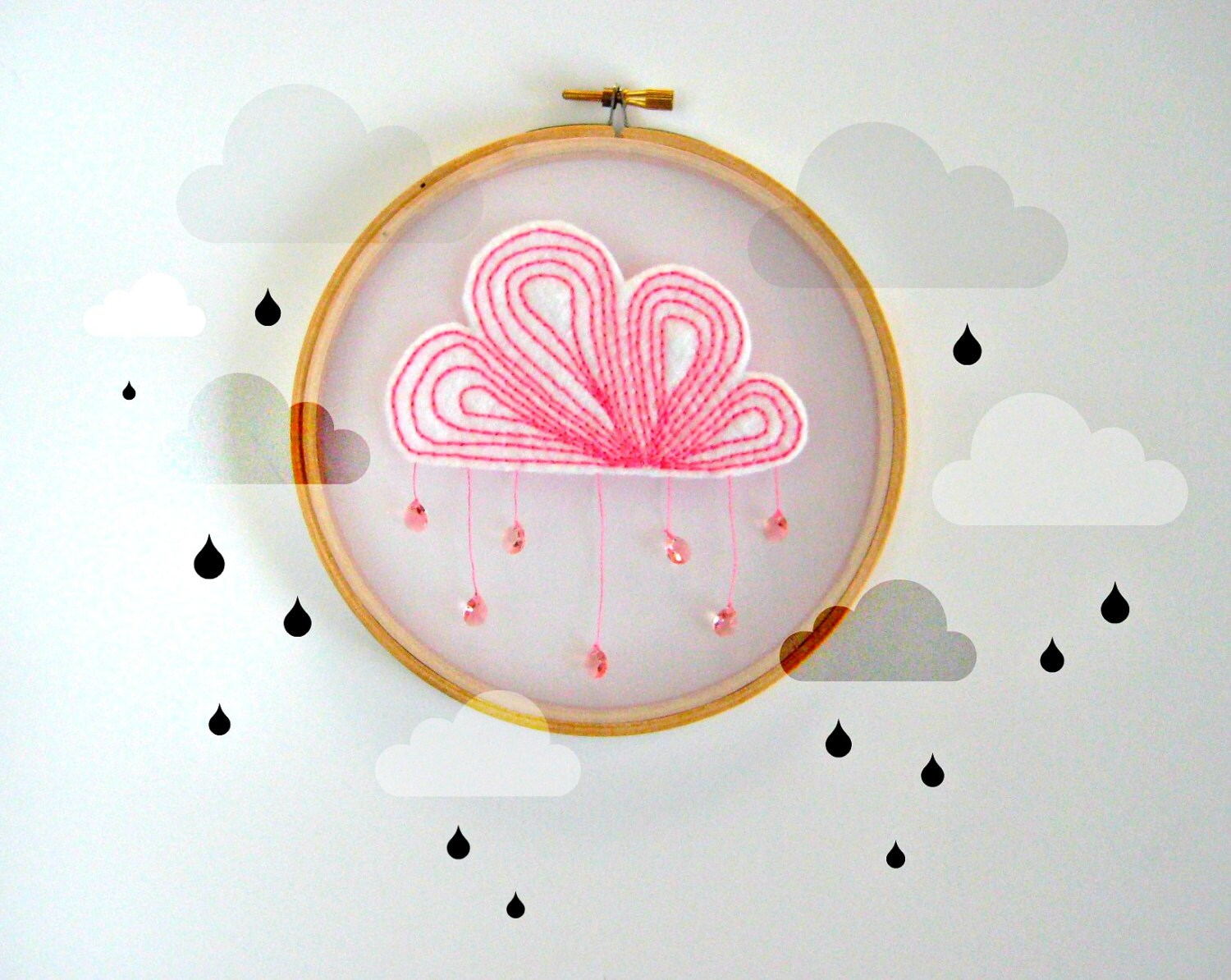 PINK CLOUD LIGHTCATCHER - Embroidery hoop art.  A rain cloud needlecrafted onto organza for a pretty shadow effect - TheMonstersLounge