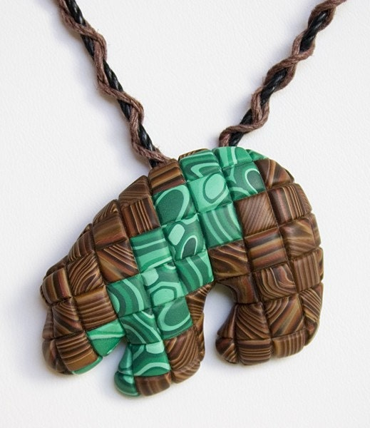 Faux Wood and Malachite Quilted ZUNI BEAR Pendant