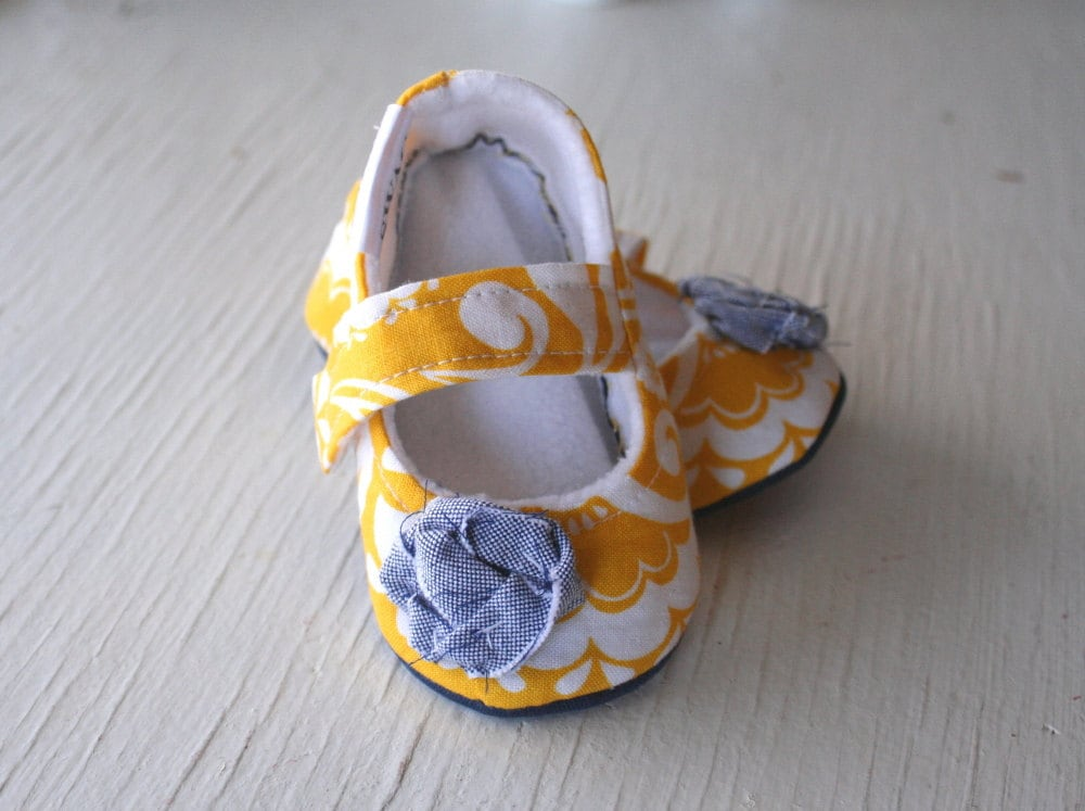 Girl Booties Baby Shoes Slippers Infant Soft Soled non slip Yellow White Paisley Navy Blue Fabric Flower SWAG shower gift toddler  booties