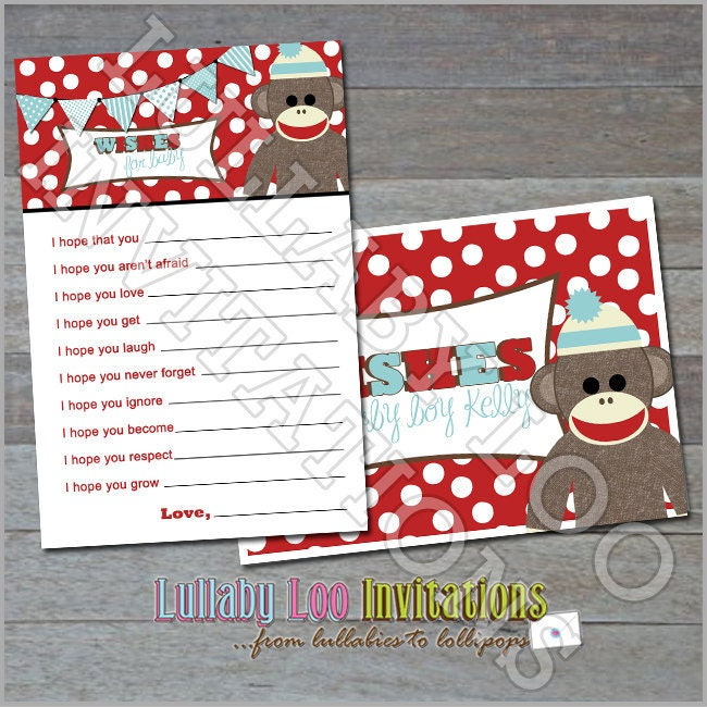 sock monkey baby shower wishes for baby oh baby set of 12