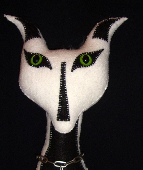 Primitive Gothic White/Black Felt Cat With Frankenstein Necklace