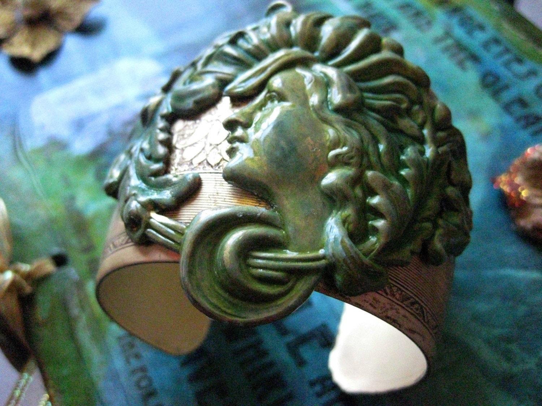 Demeter - Bringer of the Seasons - Verdigris Cuff bracelet