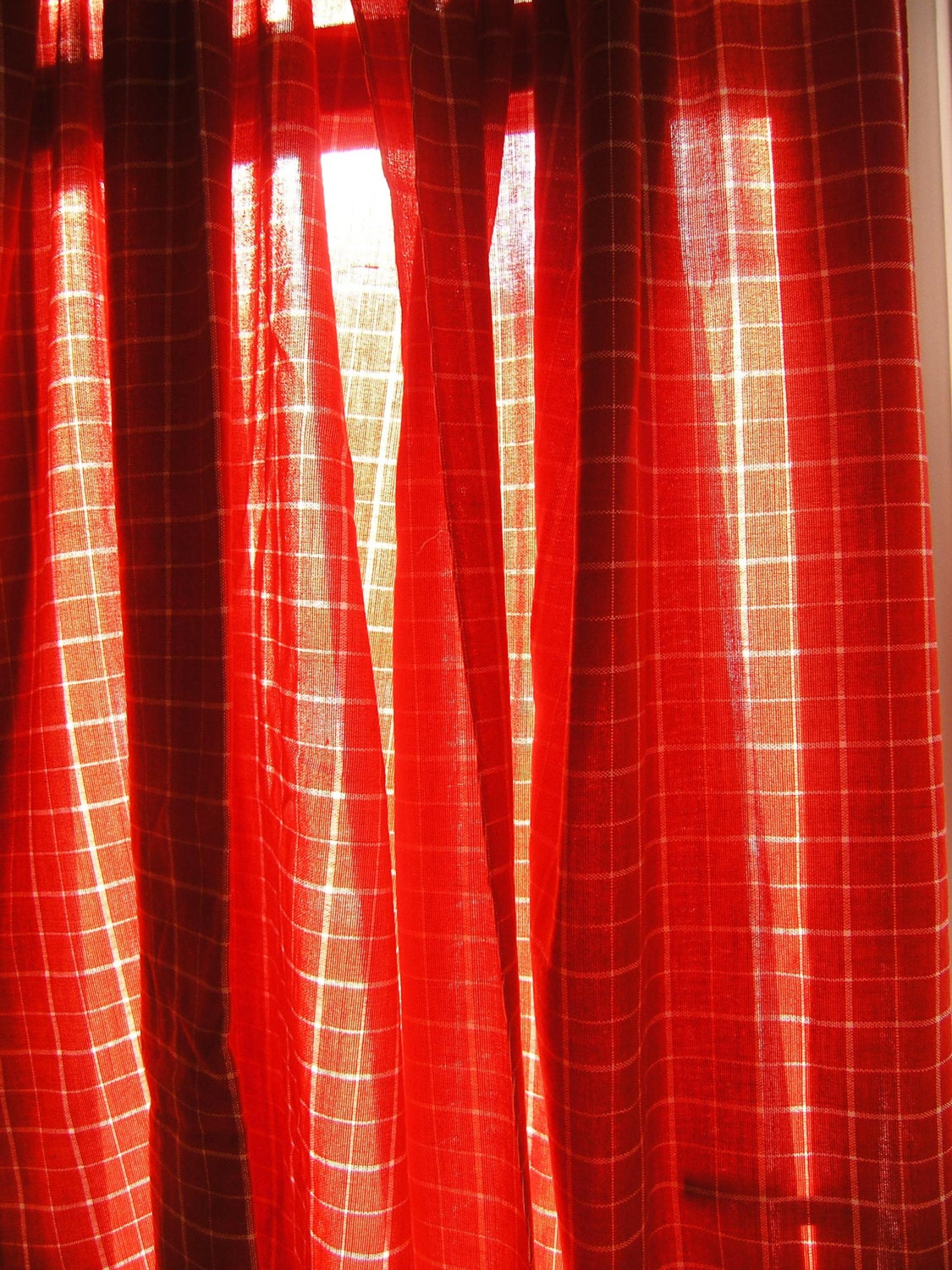 1970s red plaid curtains pair of vintage 1960s red plaid curtains