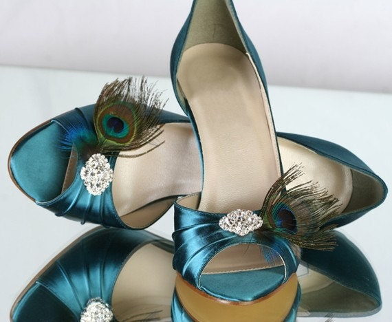 Peacock  Teal 1 3/4 Heel Shoes With Your Choice Of Rhinestone Bling   Heel Size 1 3/4 ...Available In 100 Colors