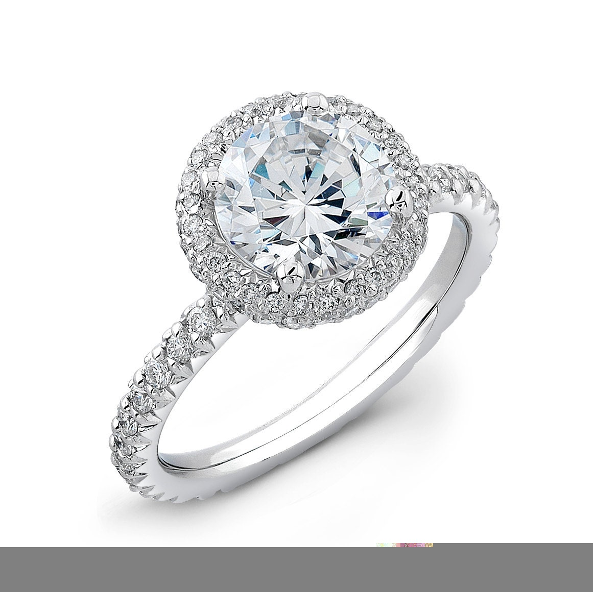 Ladies 18kt French Pave Diamond Halo Engagement Ring By EVSdesign