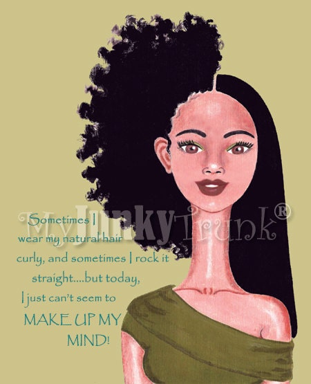 Indecision--- African American Natural Hair Afro Print