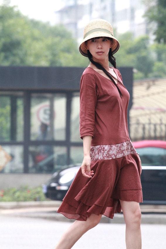 دوست داشتنی نامتقارن لباس پنبه / 2 رنگ