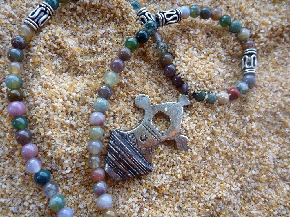 Tribal Tuareg Cross pendant african necklace multicolor jasper brown silver
