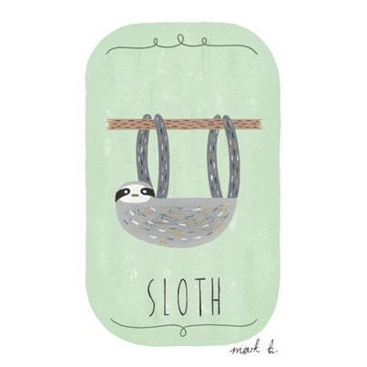 Sloth art print - 6x4 illustration - Available in pink, peach, cream, green, teal, blue & purple - sloth print, animal theme nursery - wintersmoke