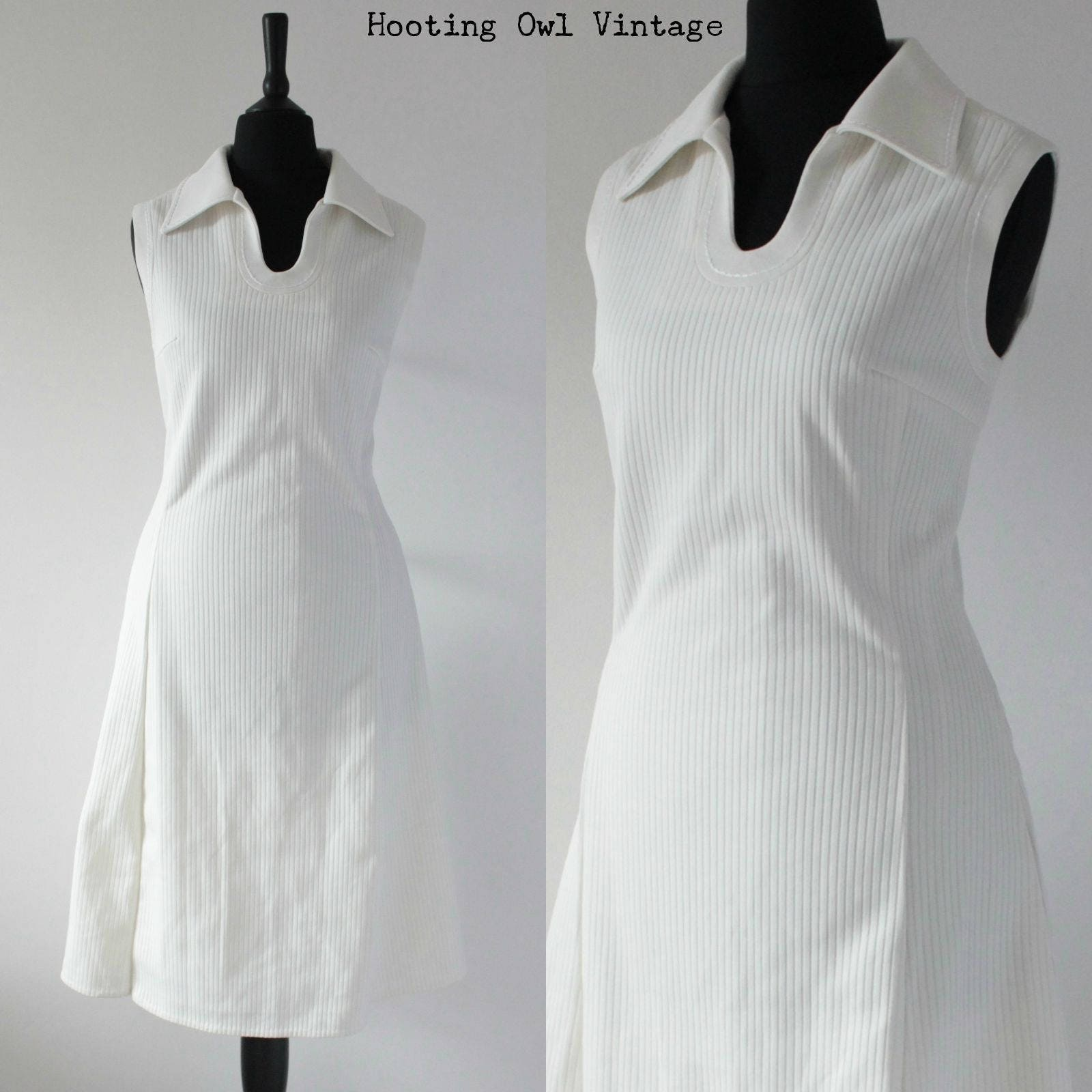White Vintage 1960s Mod Dress 60s RETRO Tennis Midi Dress Big Collar SCOOTER Gogo Sixties Dress UK 10 Small S