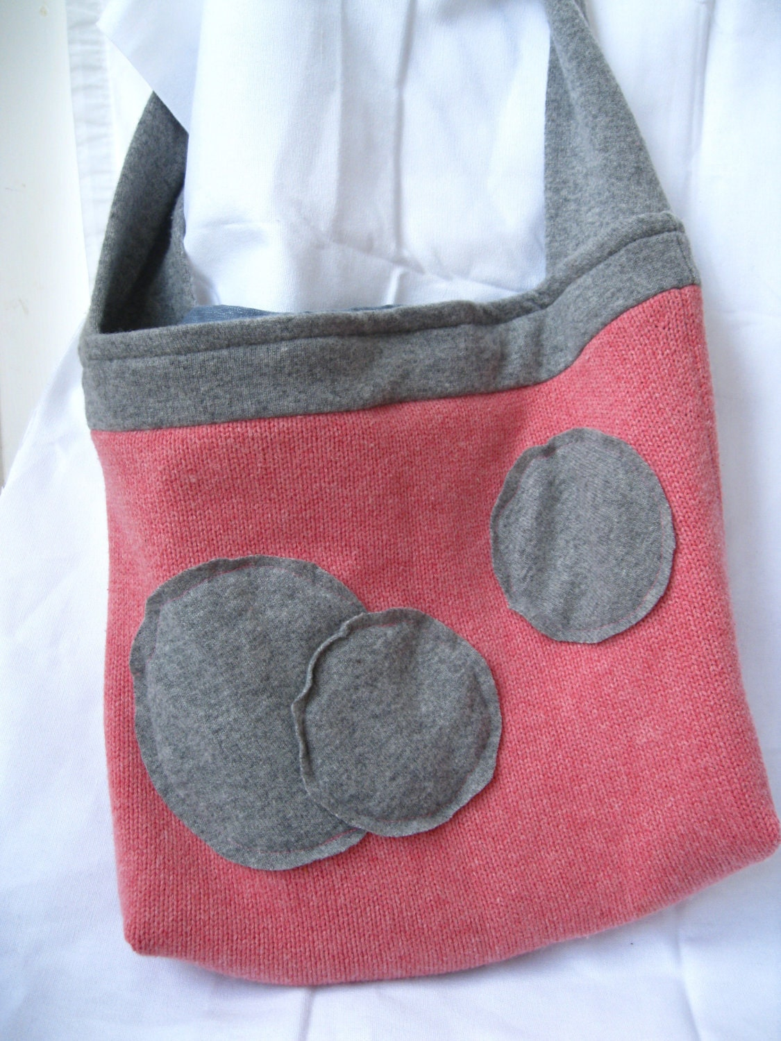 "Messenger Bag Purse--""This Used to be A Sweater""---- Upcycled Cashmere Cotton and Wool Bag with Cotton Liner  and Appliqued Wool Circles  Coral Peach and Gray Grey"