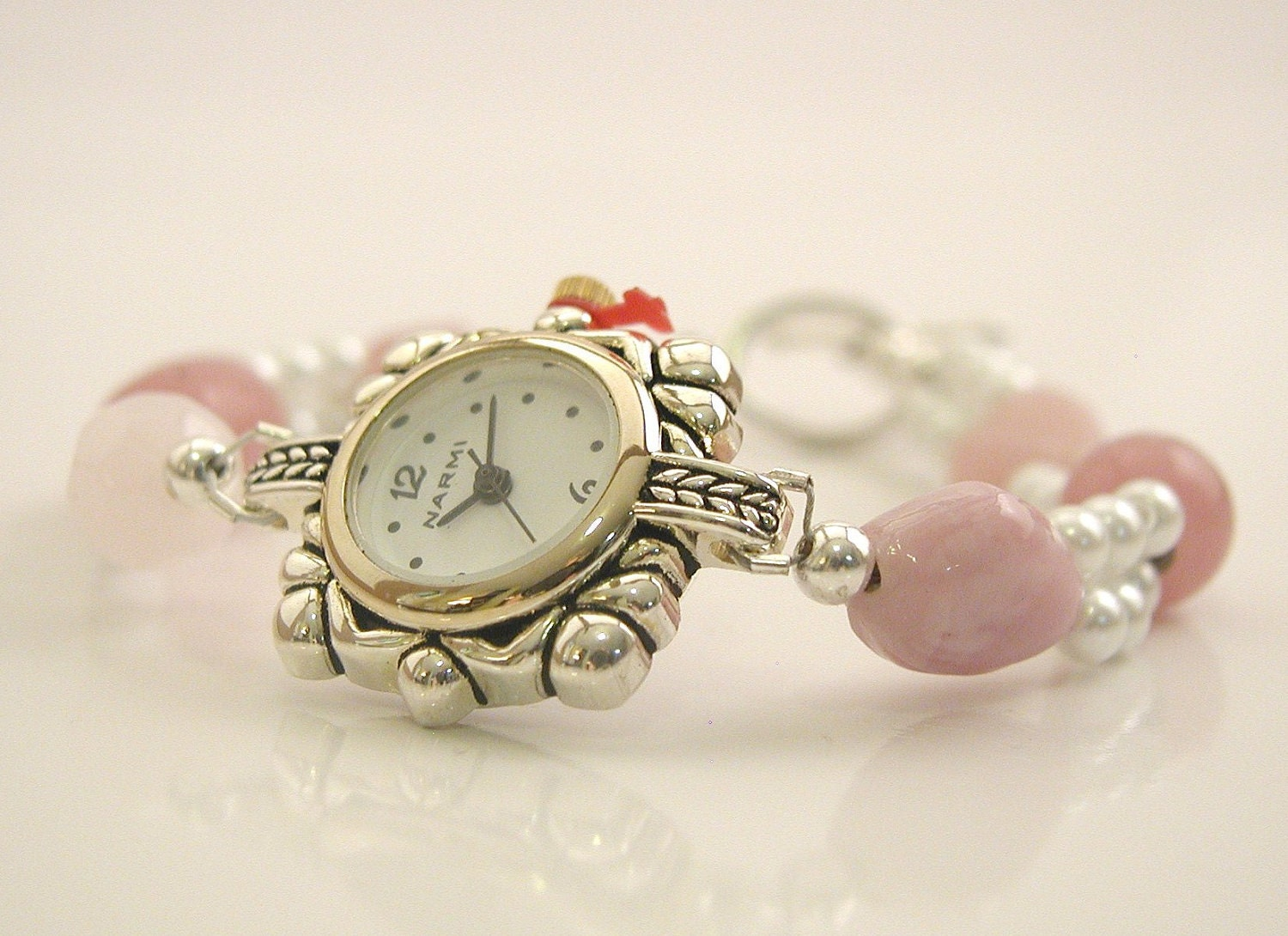Pink and Double Stranded Pearl Elegant Beaded Watch