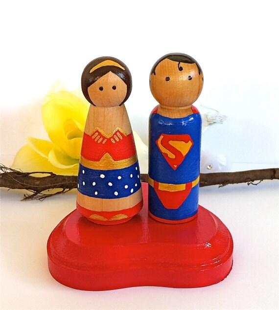 Superhero Wedding Cake Topper Bride and Groom Custom Wood Peg Doll Superman