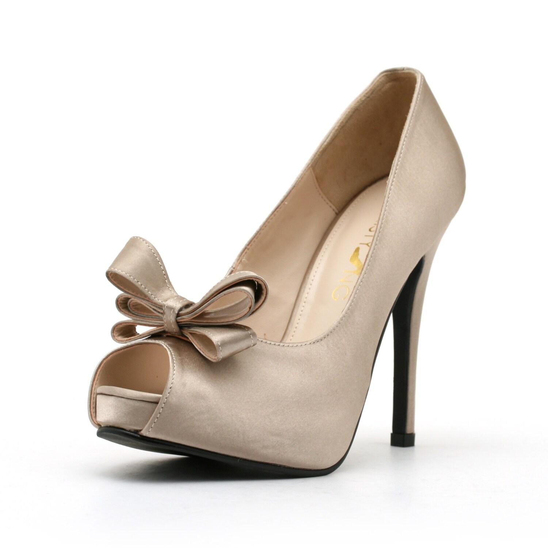 Dark Champagne Satin Wedding Shoe with Bow. Champagne Wedding Shoe. Wedding Shoes.