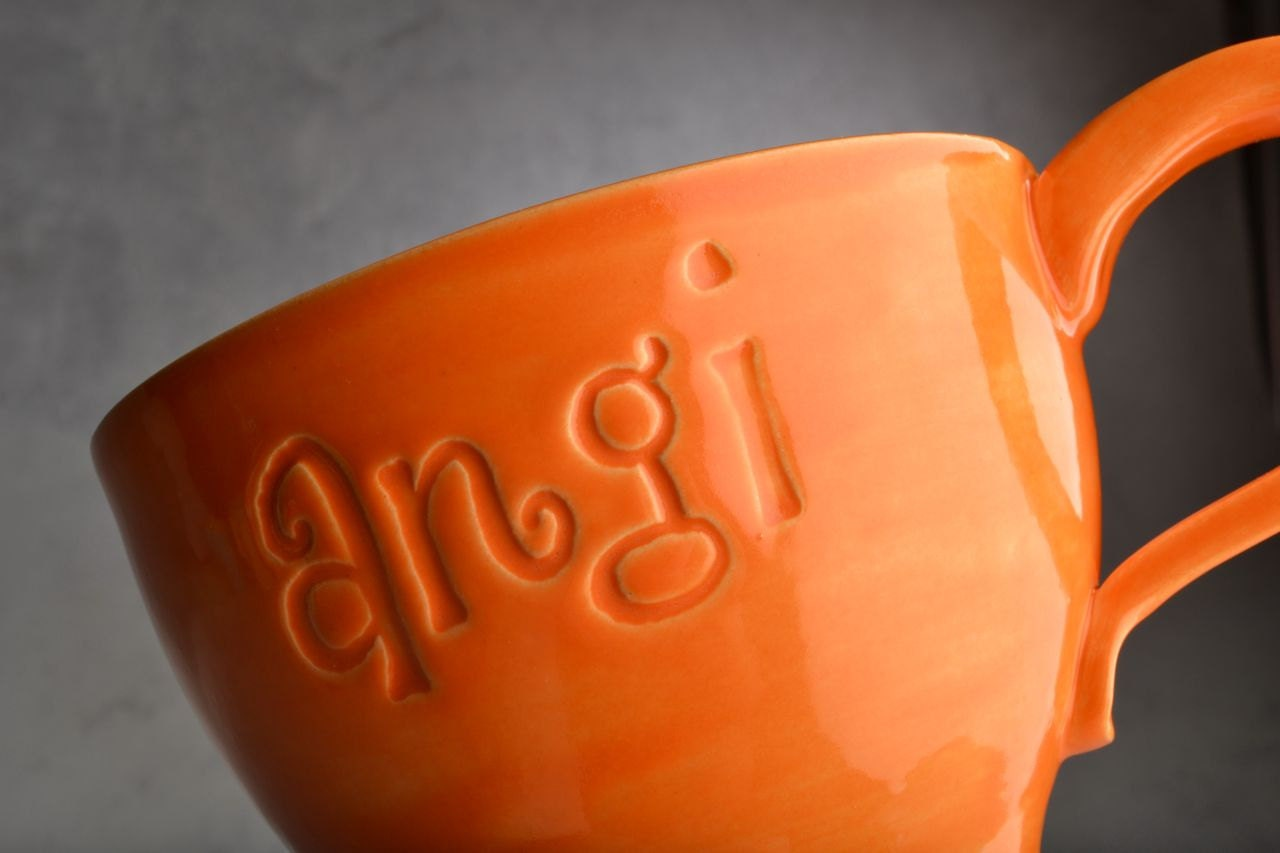 Personalized Mug: Made To Order Personalized Stamped Soup Cocoa Mug by Symmetrical Pottery - symmetricalpottery