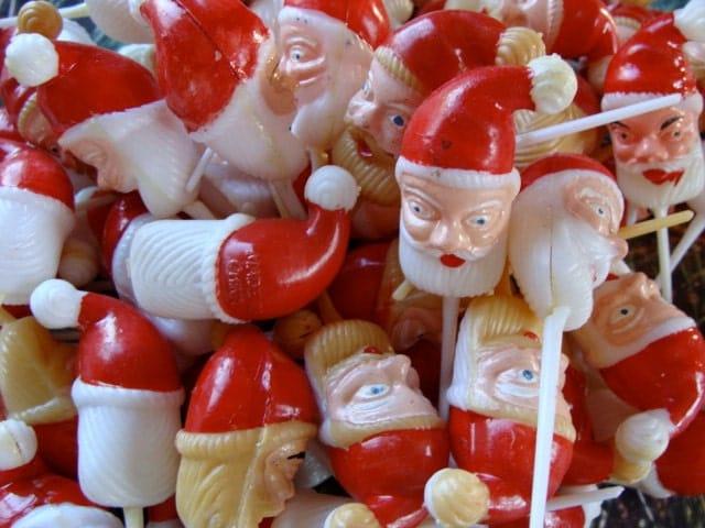 Vintage Kitsch Santa Cupcake picks