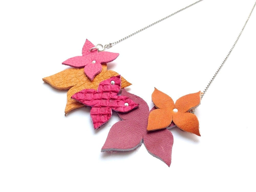 Statement leather necklace , butterfly necklace in pink and orange shades , named AMELIE - korinahj