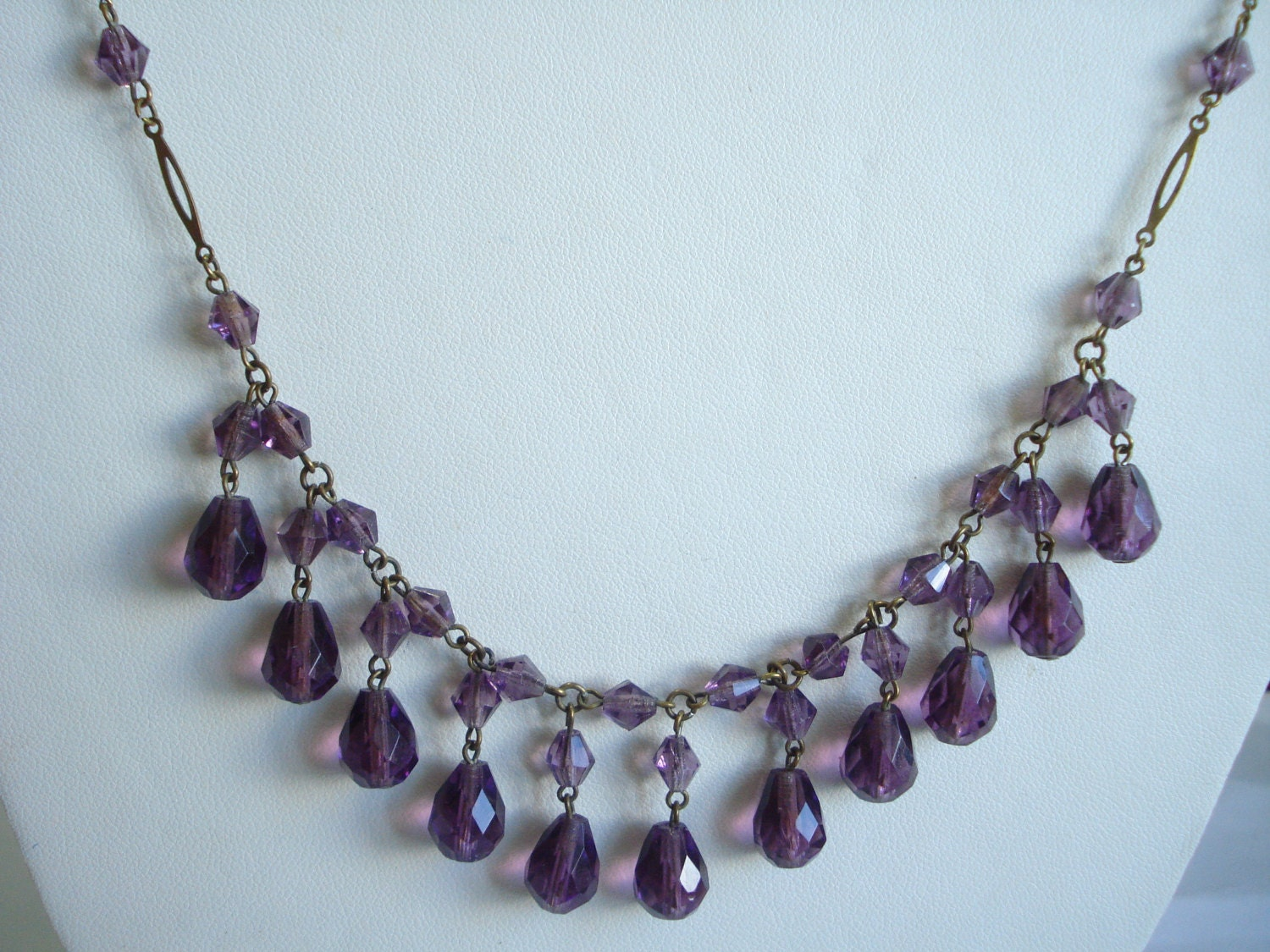 Art Deco Necklace Amethyst Glass Beads and Drops 1920s 1930s