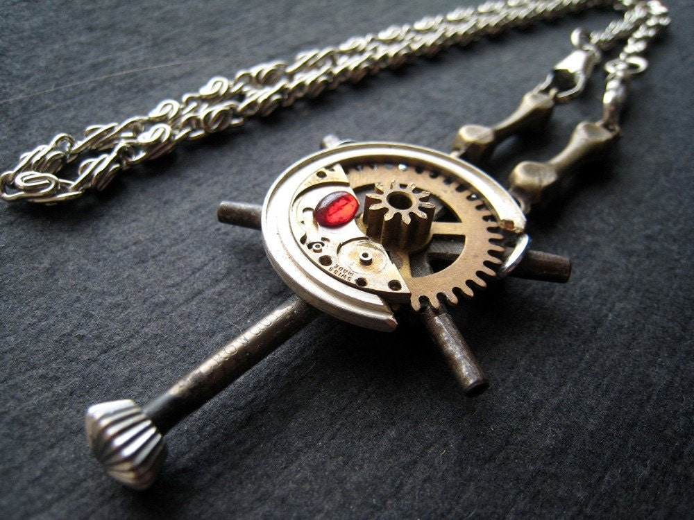 Crucifix Steampunk Necklace OOAK