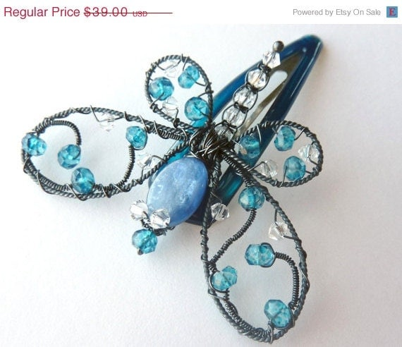 Holiday Sale - London Blue Topaz Ornate Small Dragonfly Hair Pin or Bouquet decoration - GemstoneDragonflies