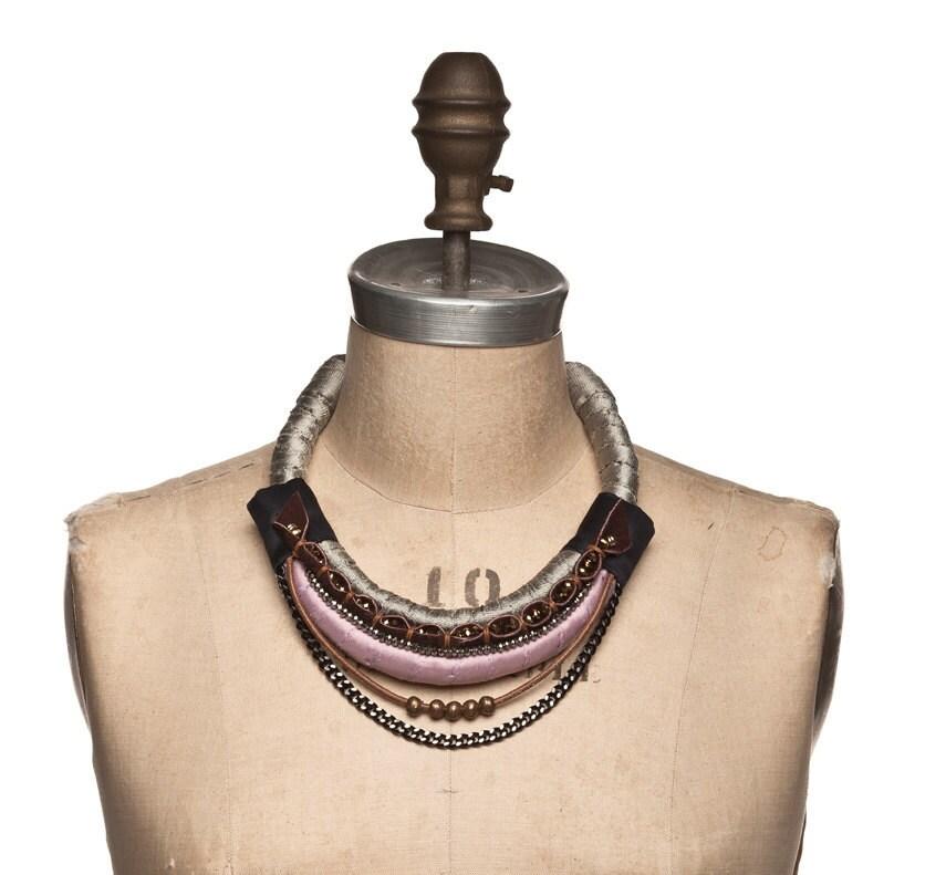 Edinburgh Necklace - Lilac and Kaki