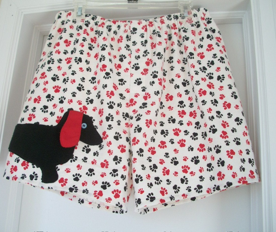 Paw print flannel boxer shorts with black dachshund by dogbarks