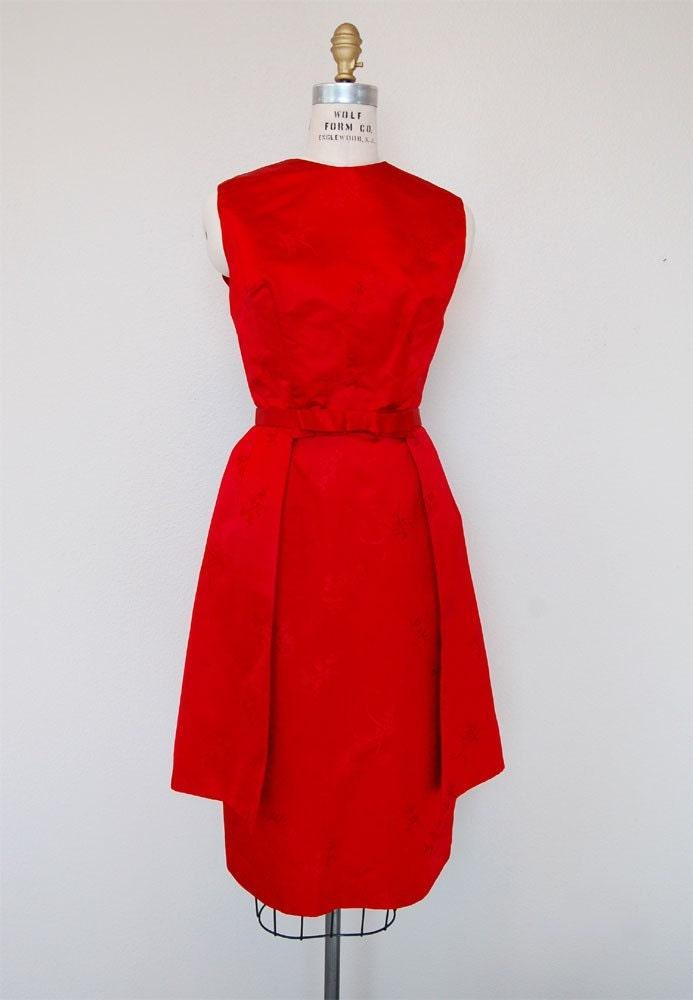 Red vintage dress etsy