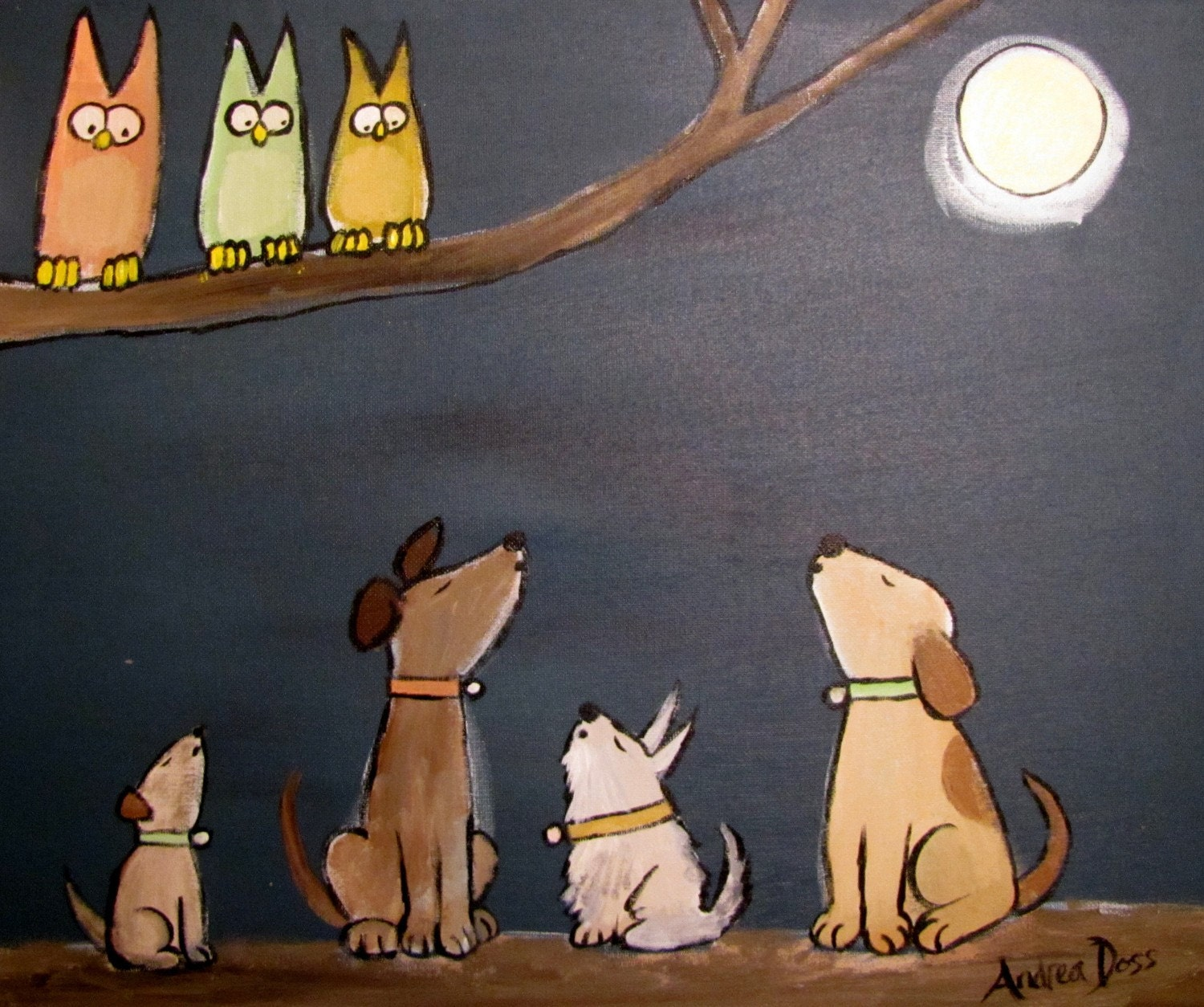 10 PERCENT OFF SALE Original 20 x 16 Howling at the Moon by Andrea Doss