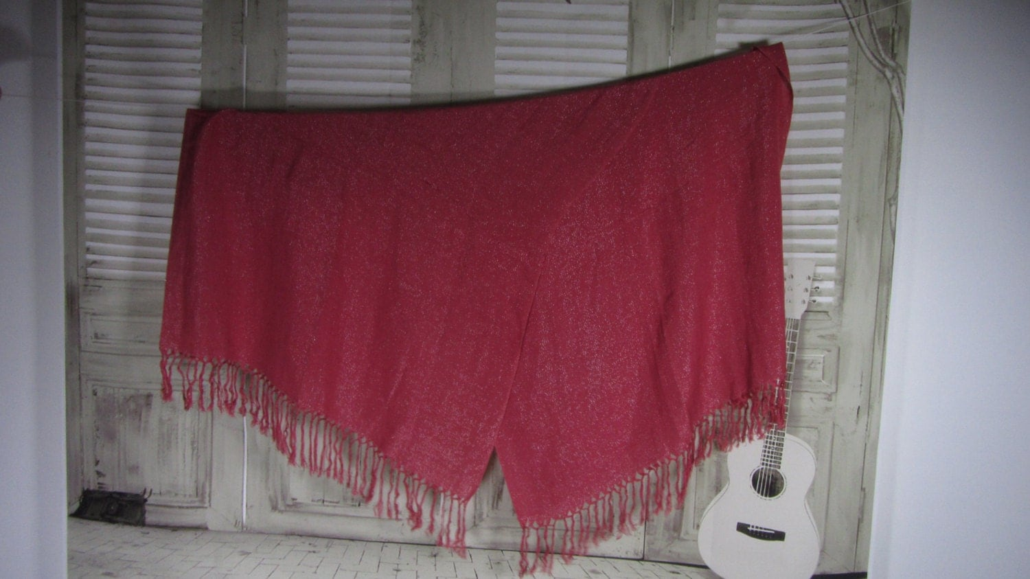 Red Tasseled Viscose Plus Lurex Couzy Warm Winter Scarf, Christmas Shawl Accesso