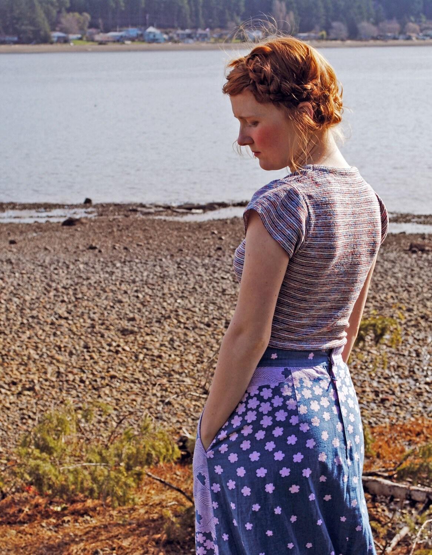 SALE 1960s Hippie Dippie Lilac Flower Child Skirt
