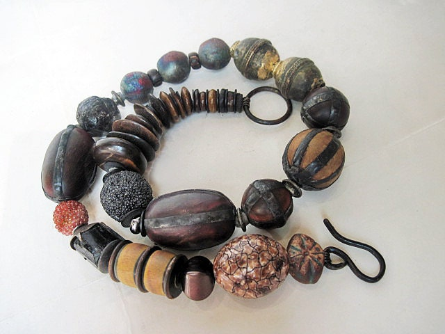 Praise. Primitive Rustic Choker with Raku, Garnet, Horn Chunky Beads.