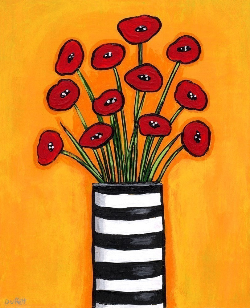 Red Poppies in Striped Vase - Print