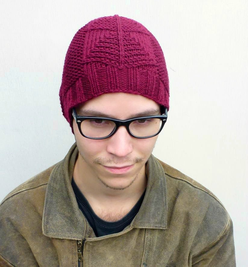 Mens Slouchy Beanie Knit Pattern : Slouchy Beanie Tribal Pattern Hand Knit Beanie Men and by PolClary