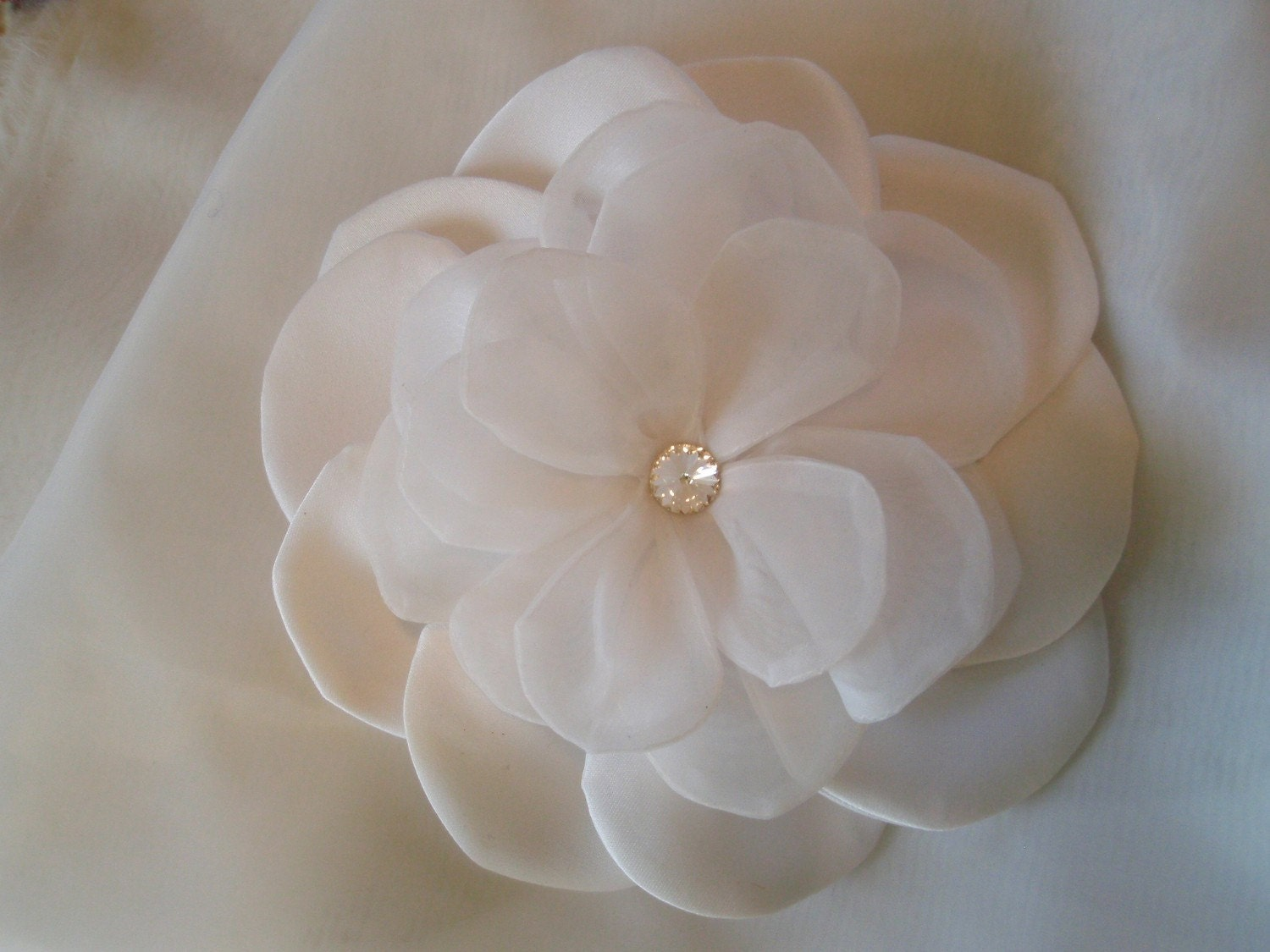 Stunning Large White Bridal Peony with Swarvoski Crystal